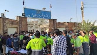 دومین روز تجمع کارگران شهرداری امیدیه