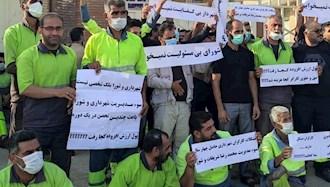 تجمع اعتراضی پرسنل شهرداری امیدیه
