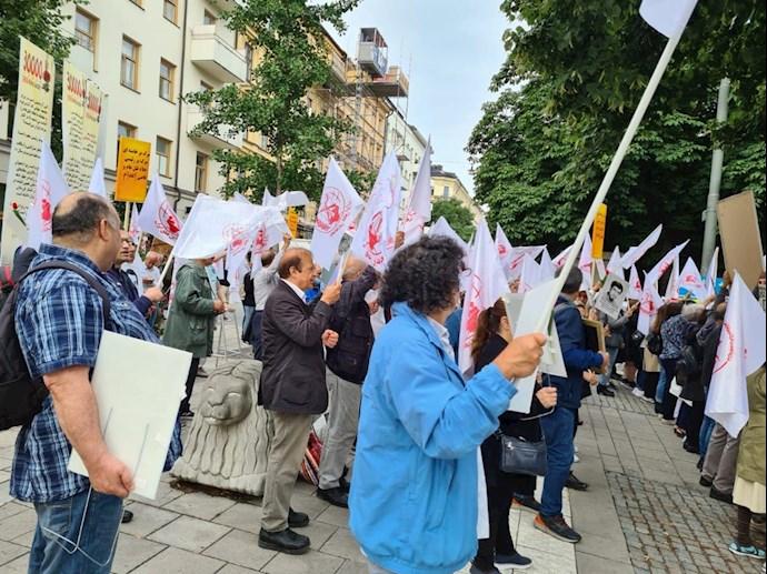 تظاهرات هواداران مجاهدین و بستگان شهیدان سربدار - سوئد استکهلم - 0