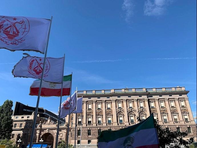 تظاهرات ایرانیان آزاده و بستگان مجاهدان سربهدار مقابل پارلمان سوئد -۹شهریور - 1