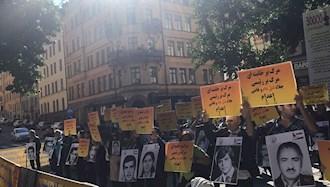 تظاهرات ایرانیان آزاده و هواداران مجاهدین در پنجمین روز از جلسه دادگاه دژخیم حمید نوری در استکهلم