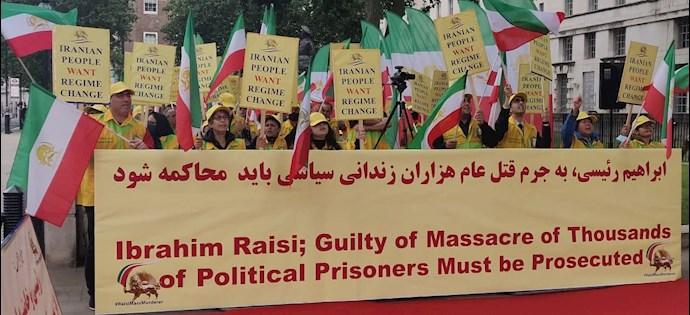 -لندن - انگلستان: تظاهرات هموطنان آزاده برای محاکمه آخوند ابراهیم رئیسی - ۱۲ مرداد