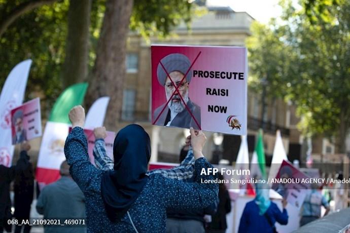 انعکاس تصویری خبرگزاری فرانسه از گردهماییهای جهانی علیه ابراهیم رئیسی در انگلستان - 1