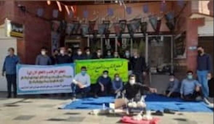 -تجمع اعتراضی کارگران اخراجی واحد اجرائیات شهرداری اهواز