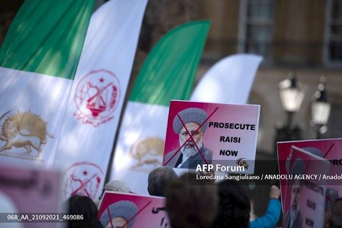 انعکاس تصویری خبرگزاری فرانسه از گردهماییهای جهانی علیه ابراهیم رئیسی در انگلستان - 10