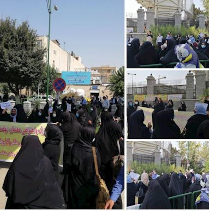 -دومین روز از تجمع اعتراضی آموزشیاران نهضت سوادآموزی