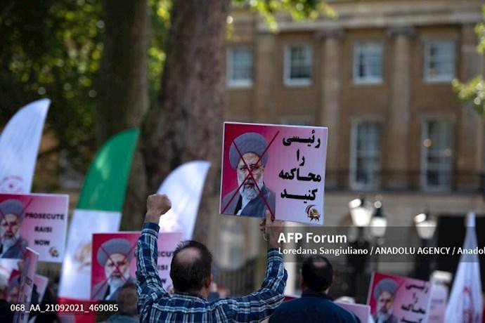 انعکاس تصویری خبرگزاری فرانسه از گردهماییهای جهانی علیه ابراهیم رئیسی در انگلستان - 9